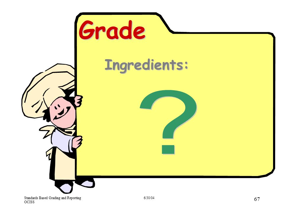 4/13/2017 Grade. Ingredients: What ingredients should be included in a grade [Refer to Consensogram activity and the ideas that emerged.]